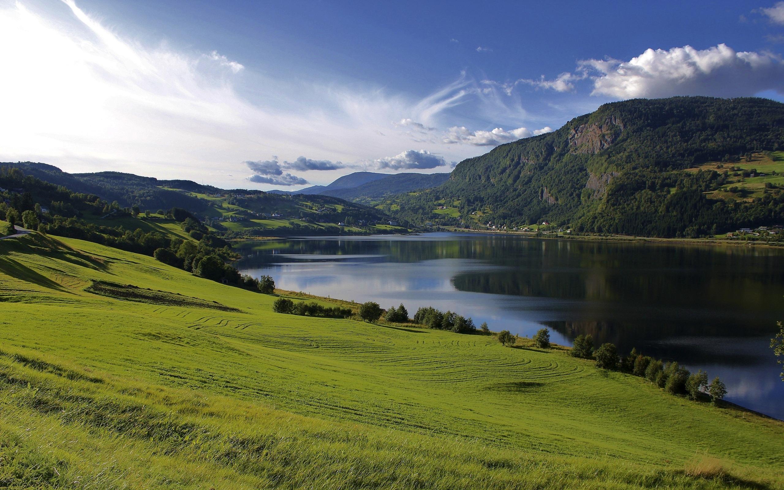 Природа пейзаж лето озеро вода поля