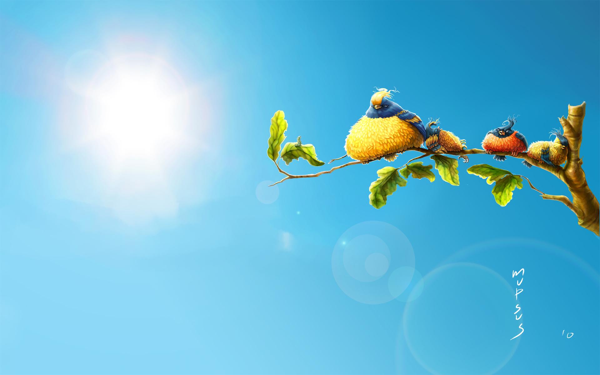 Пейзаж лето жара птички красивые обои
