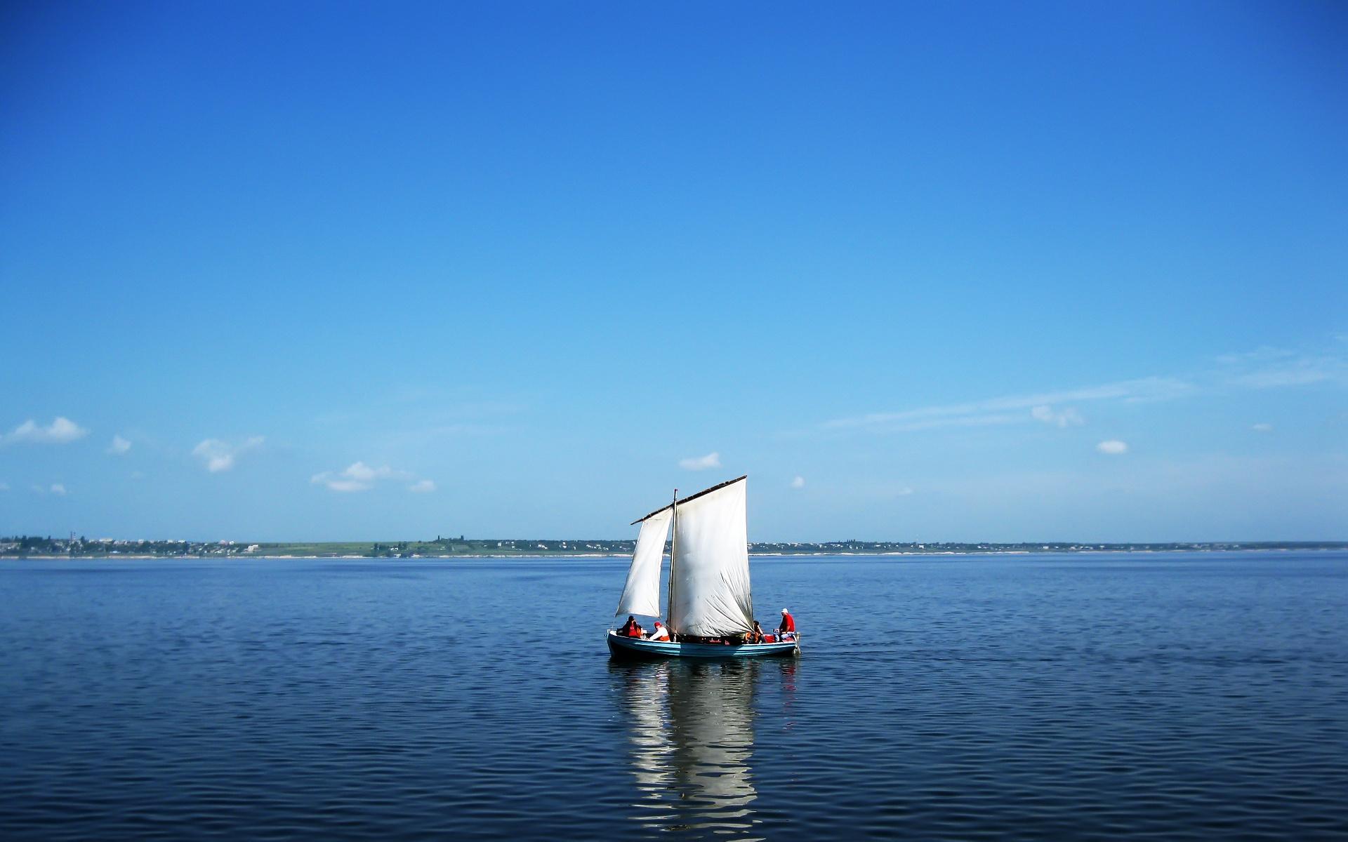 Природа пейзаж лето река лодка