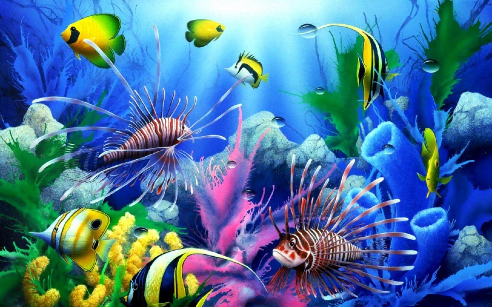 Пейзаж море рыбы подводный мир